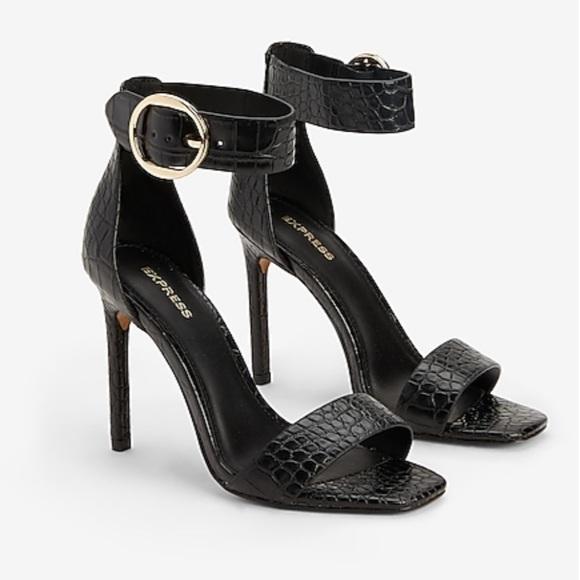 Express Shoes - Black Crocodile Textured Heels